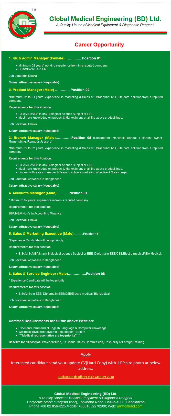 Global Medical Engineering (BD) Ltd Job Circular 2018