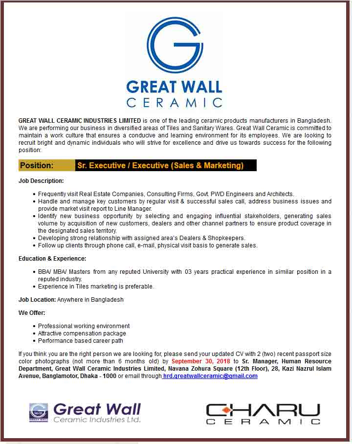 Great Wall Ceramic Industries Ltd Job Circular 2018