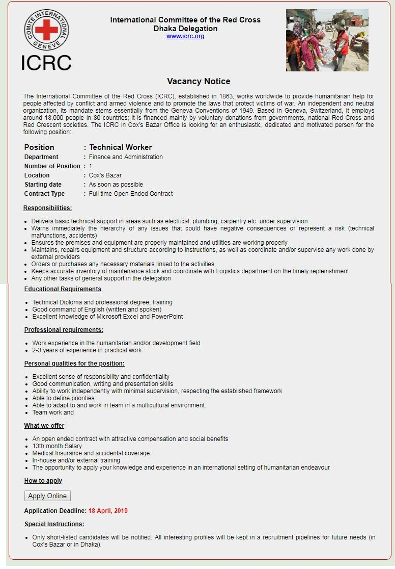 International Committee of the Red Cross (ICRC) Job Circular 2019