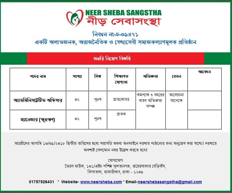 Neer Sheba Sangstha Job Circular 2018