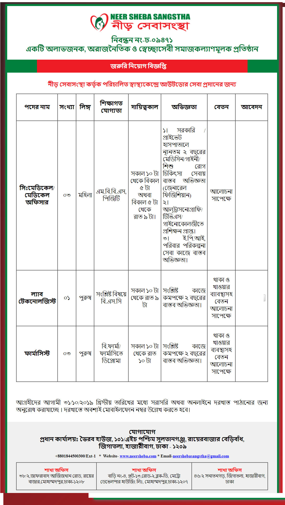 Neer Sheba Sangstha Job Circular 2019