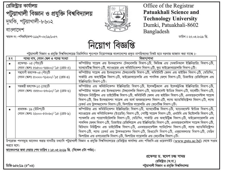 Patuakhali Science and Technology University Job Circular 2019