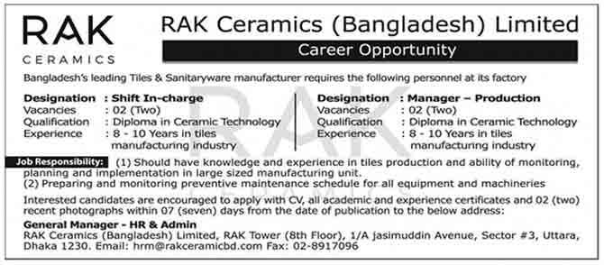 Rak ceramics bangladesh limited job circular 2018 - Bureau ecologique viva shift ...