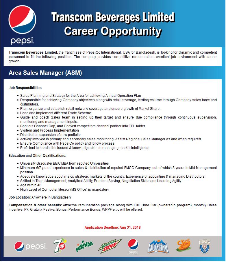 Transcom Beverages Limited Job Circular 2018