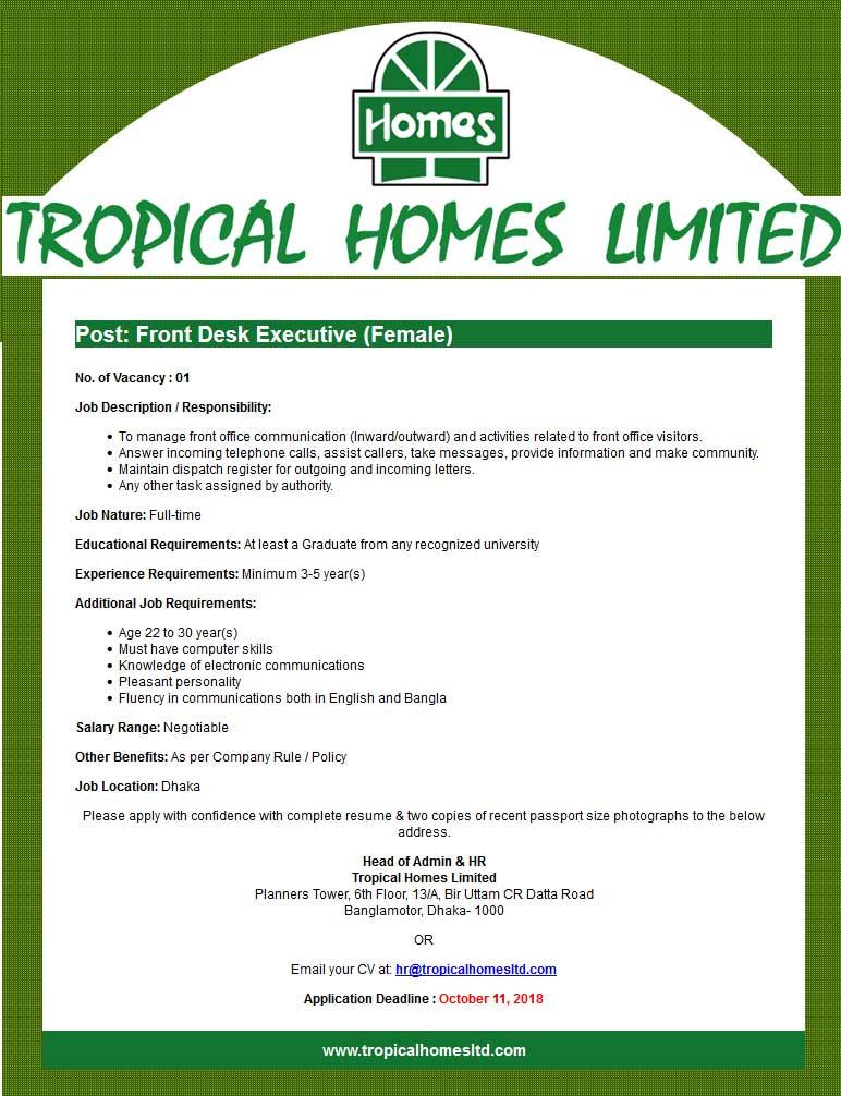 Tropical Homes Limited Job Circular 2018