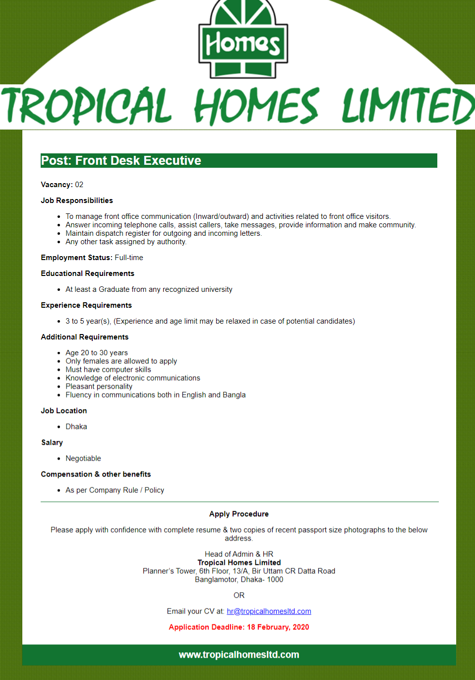 Tropical Homes Limited Job Circular 2020
