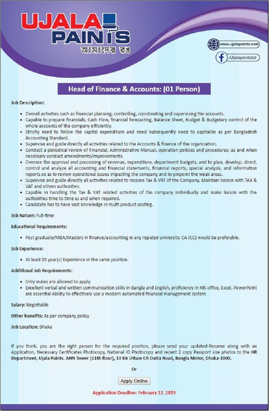 Ujala Paints Job Circular 2019