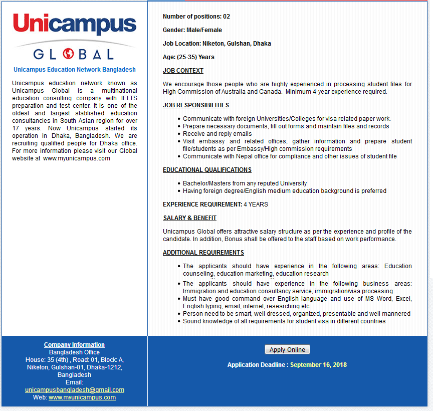 Unicampus Education Network Bangladesh job circular 2018