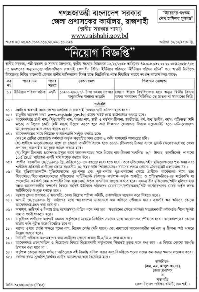 Union Parishad Job Circular 2018