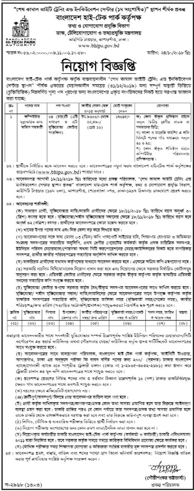 Bangladesh Hi Teach Park Authority BHTPA Job Circular 2018
