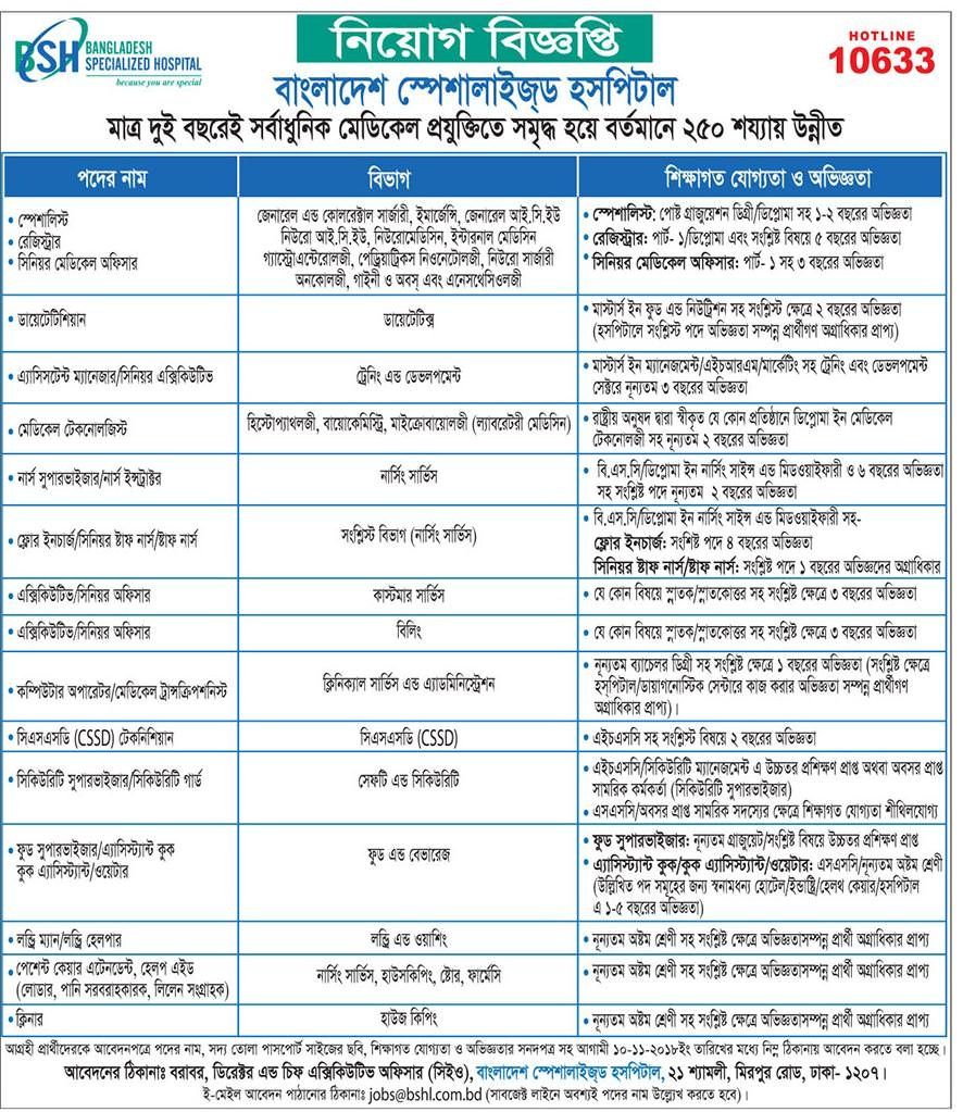 Bangladesh Specialized Hospital Limited Job Circular 2018