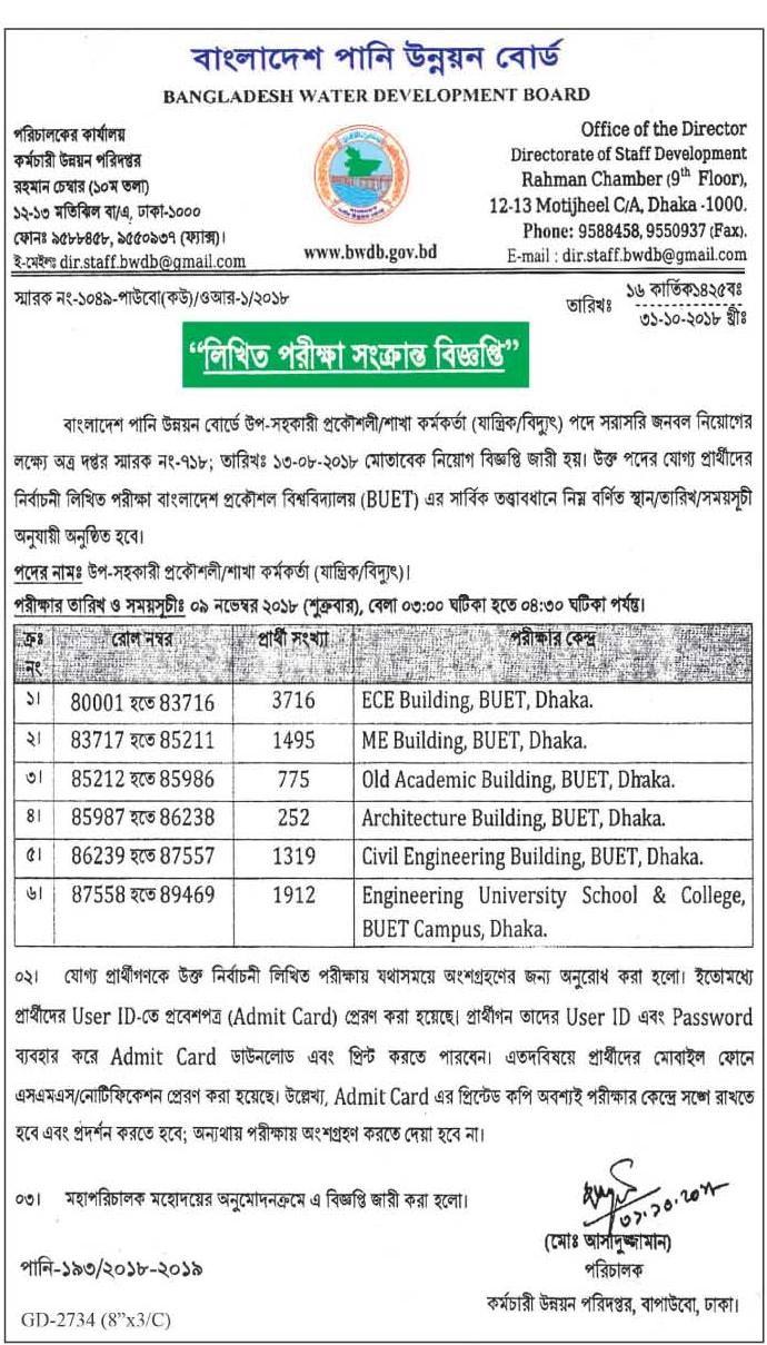 Bangladesh Water Development Board Written Exam schedule 2018