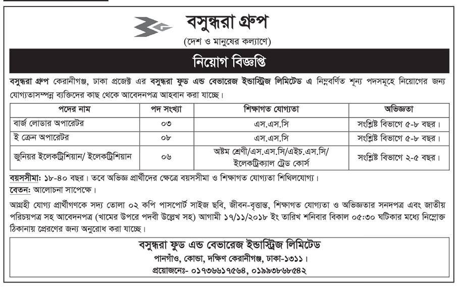 Bashundhara Group Job circular 2018