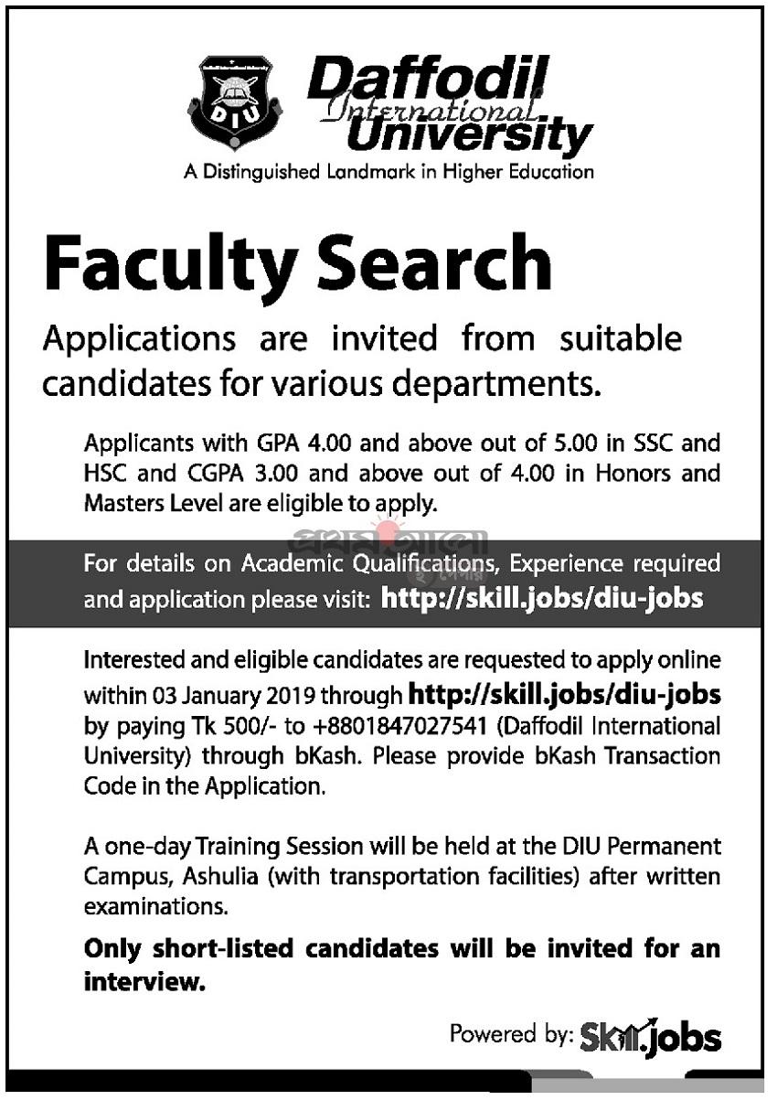 Daffodil International University Job Circular