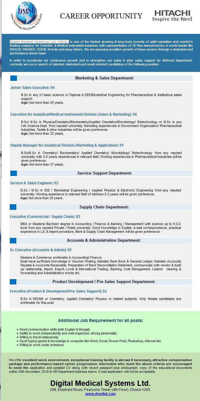 Digital Medical Systems Ltd.Job Circular 2018