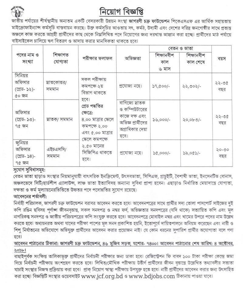 Jagorani Chakra Foundation Job Circular 2018