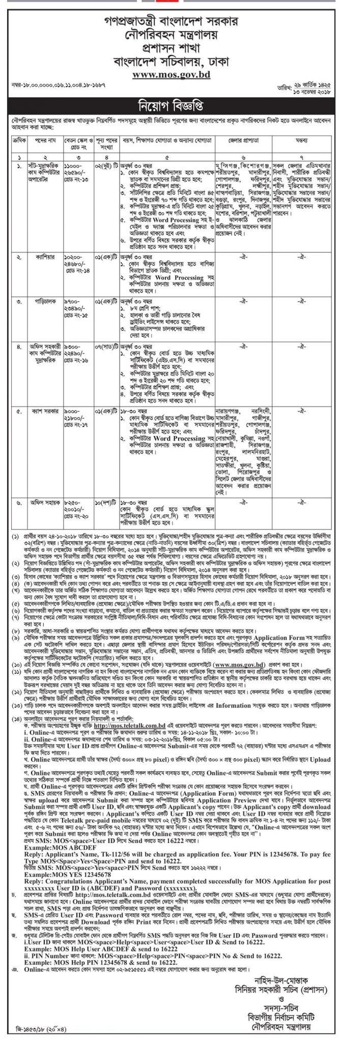 Ministry of Shipping MOS Job Circular 2018