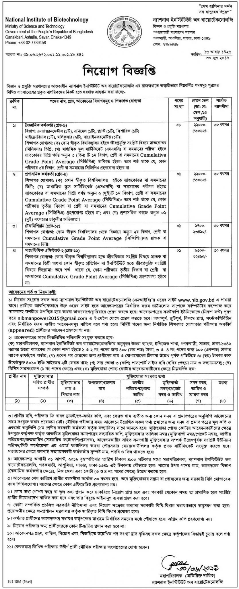 National Institute of Biotechnology Job Circular 2019