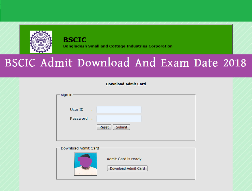 BSCIC Admit Card & Exam Result