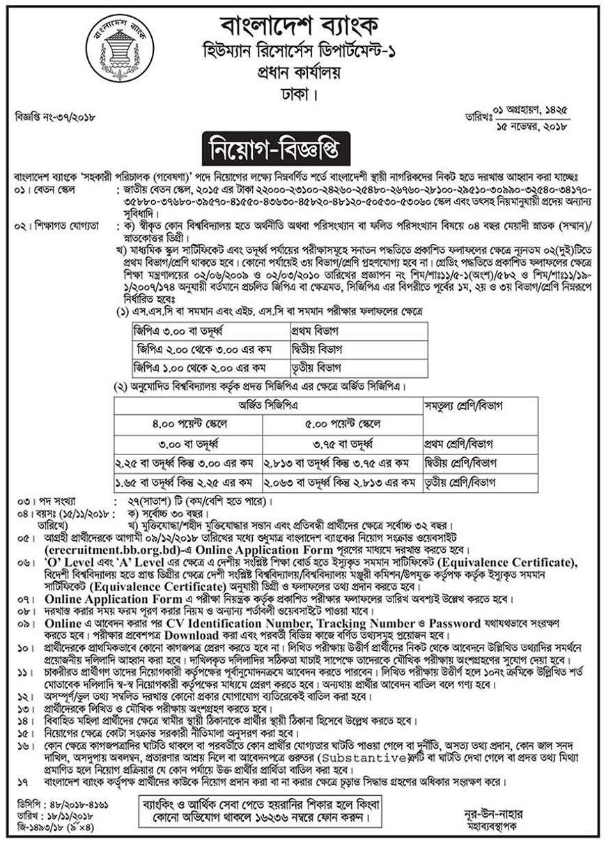 Bangladesh Bank Job Circular 2018
