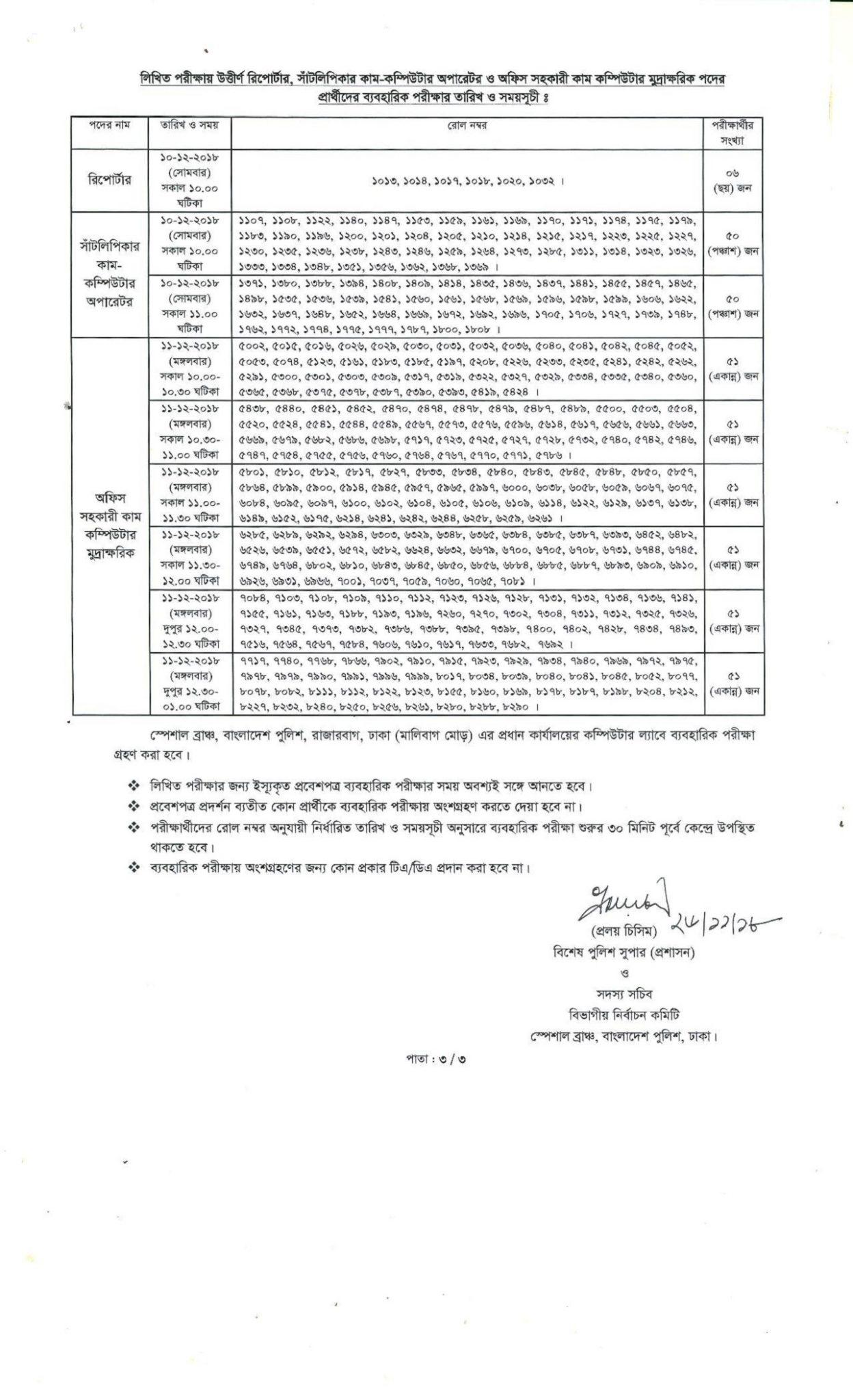 Bangladesh Police SI Viva Date 2018
