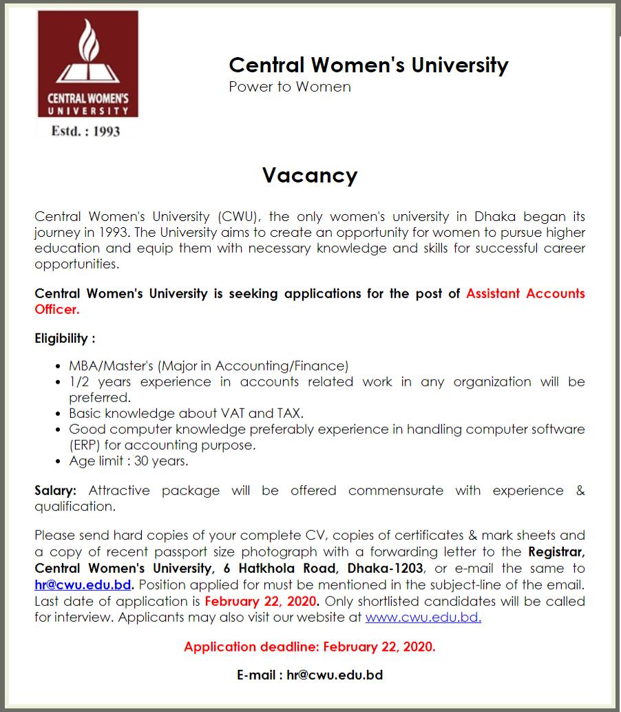 Central Women's University Job Circular 2020