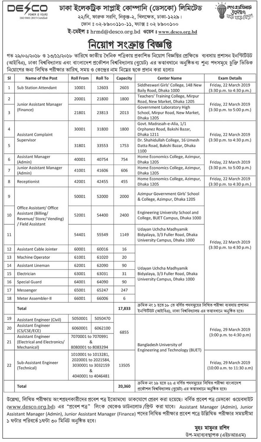 Dhaka Electric Supply Company (DESCO) Job Circular 2019