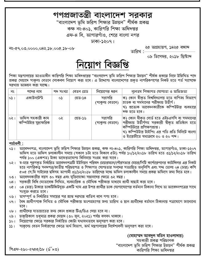 Bangladesh Technical Education Board (BTEB) Job Circular 2018 | BD