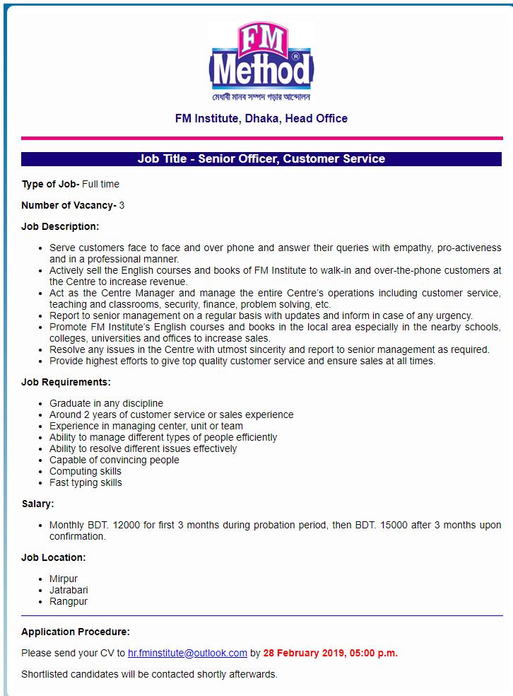 FM Institute Job Circular 2019