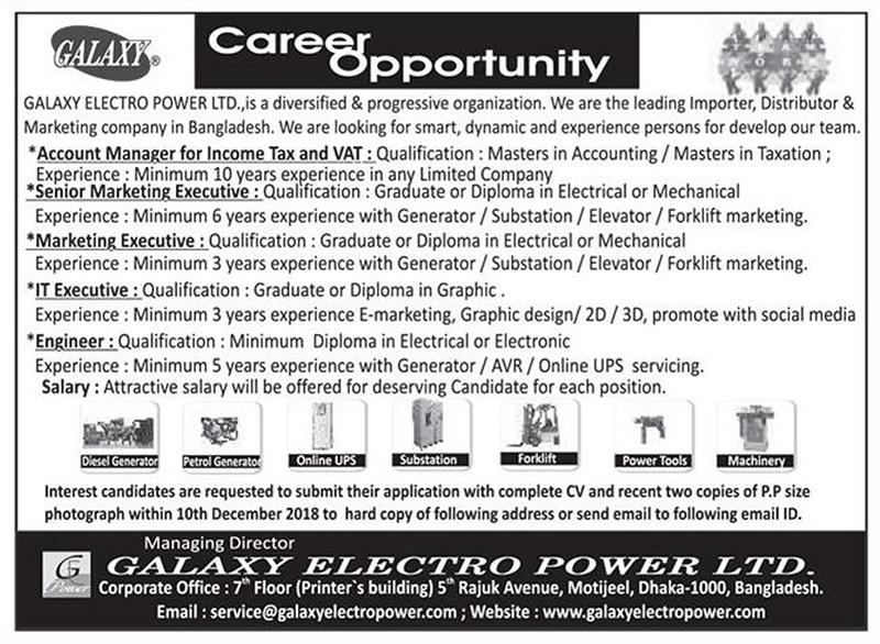 Galaxy Electro Power Ltd Job Circular 2018