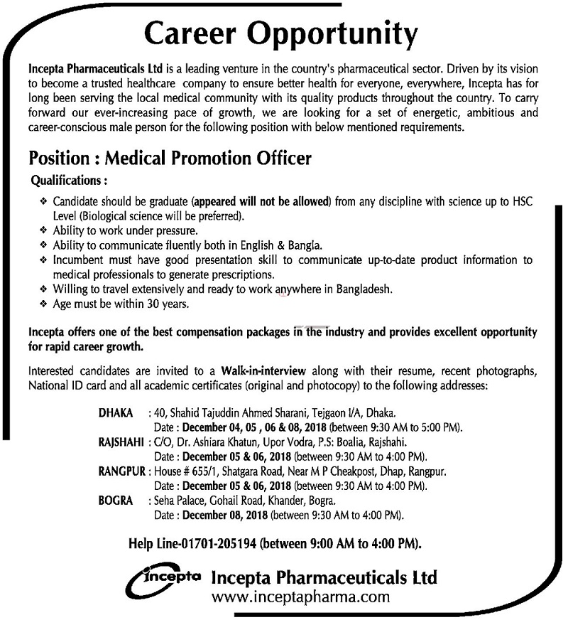 Incepta Pharmaceuticals Job Circular 2018