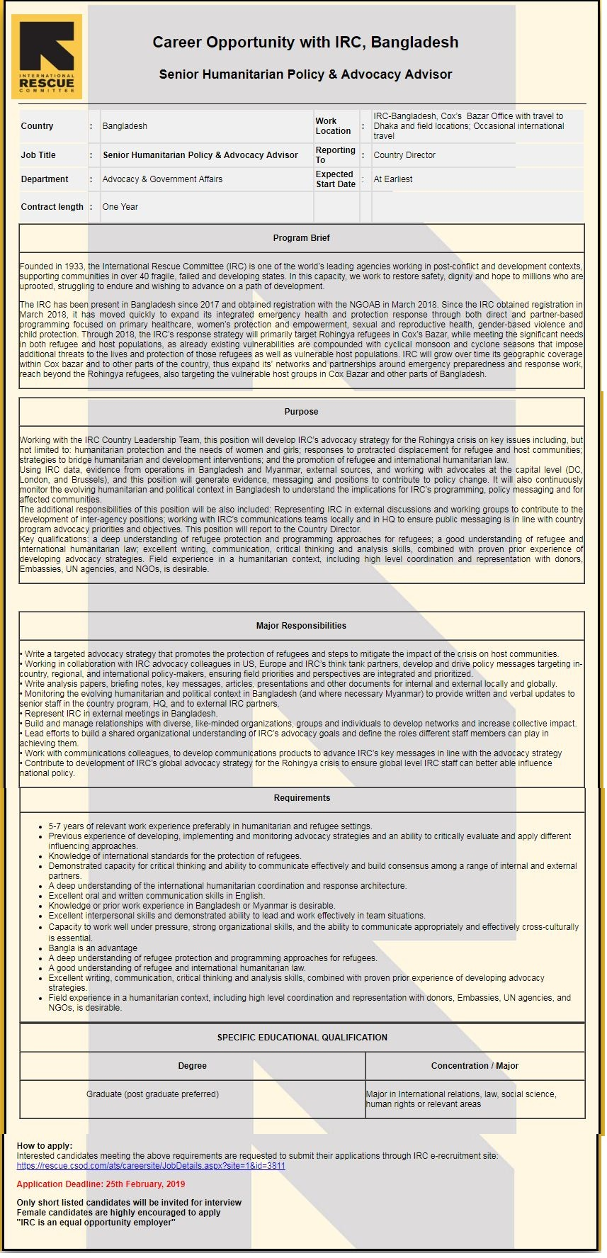 International Rescue Committee job circular 2018
