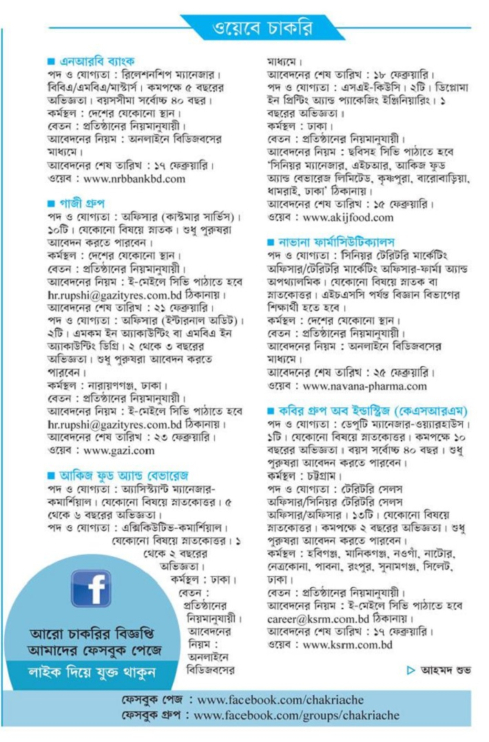 Kaler Kantho Weekly Jobs Newspaper 2019