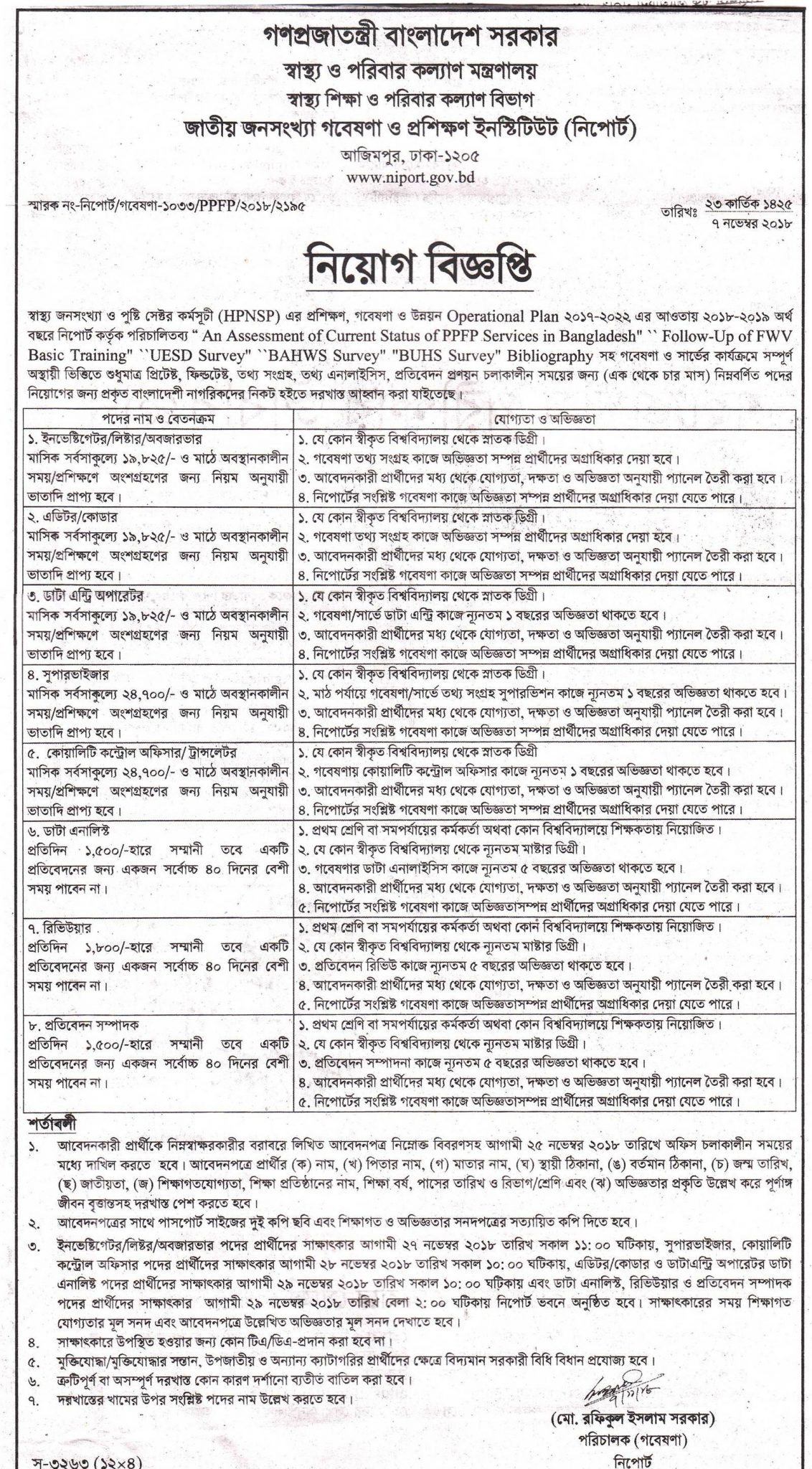 NIPORT Job Circular । Exam Date। Result