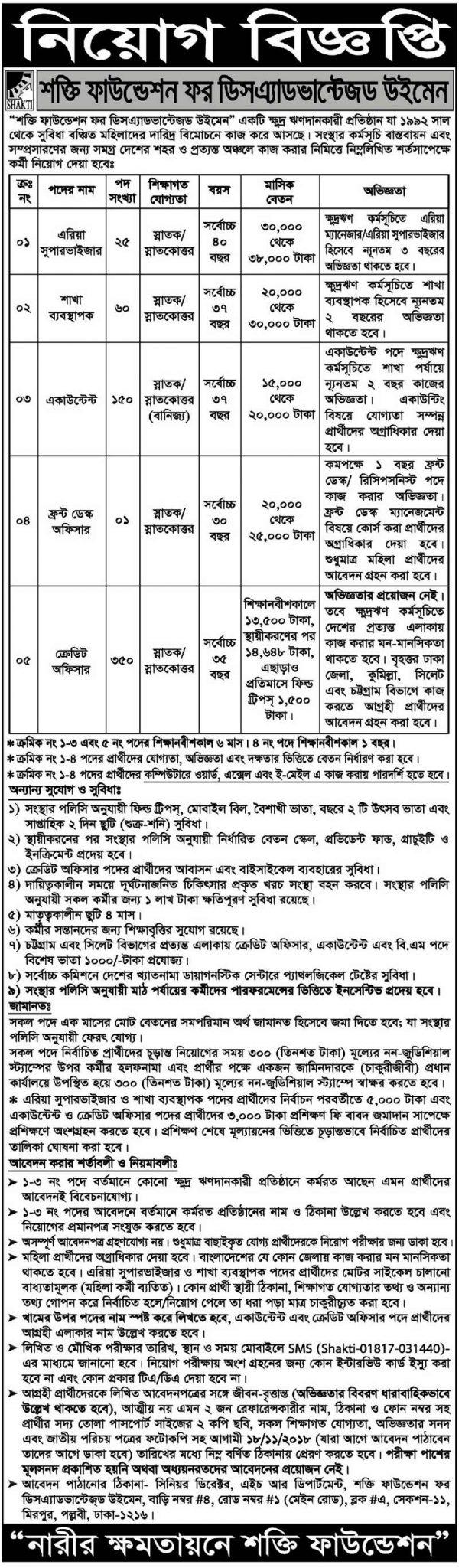 Shakti Foundation Job Circular 2018
