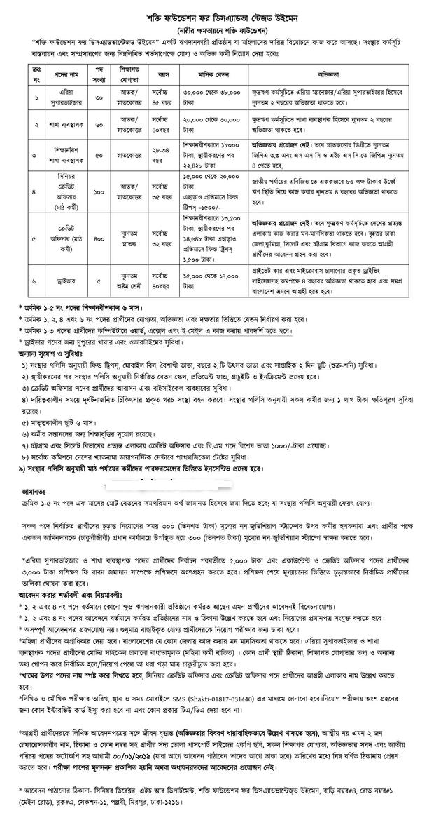 Shakti foundation Job Circular 2019