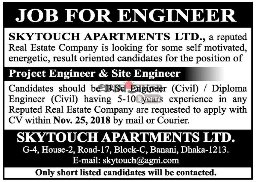 Skytouch Apartments Ltd Job Circular 2018