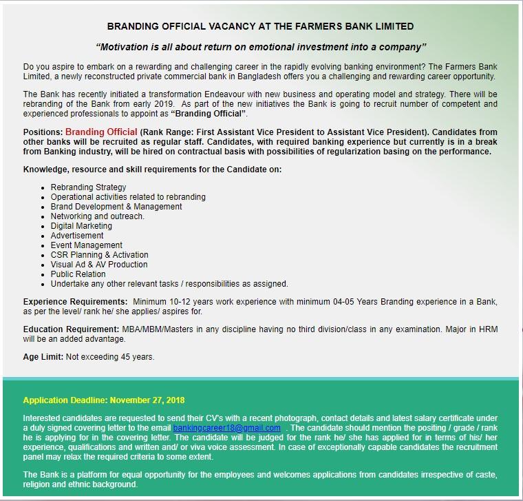 The Farmers Bank Limited Job Circular 2018