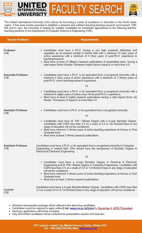 United International University (UIU) Job Circular 2018