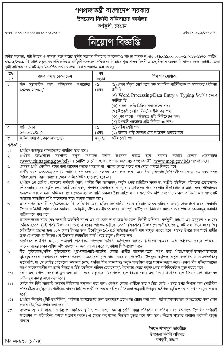 Upazila Executive Officer Job Circular 2018