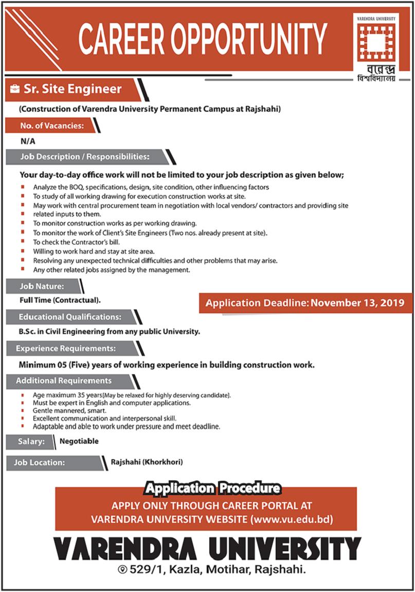 Varendra University Job Circular 2019