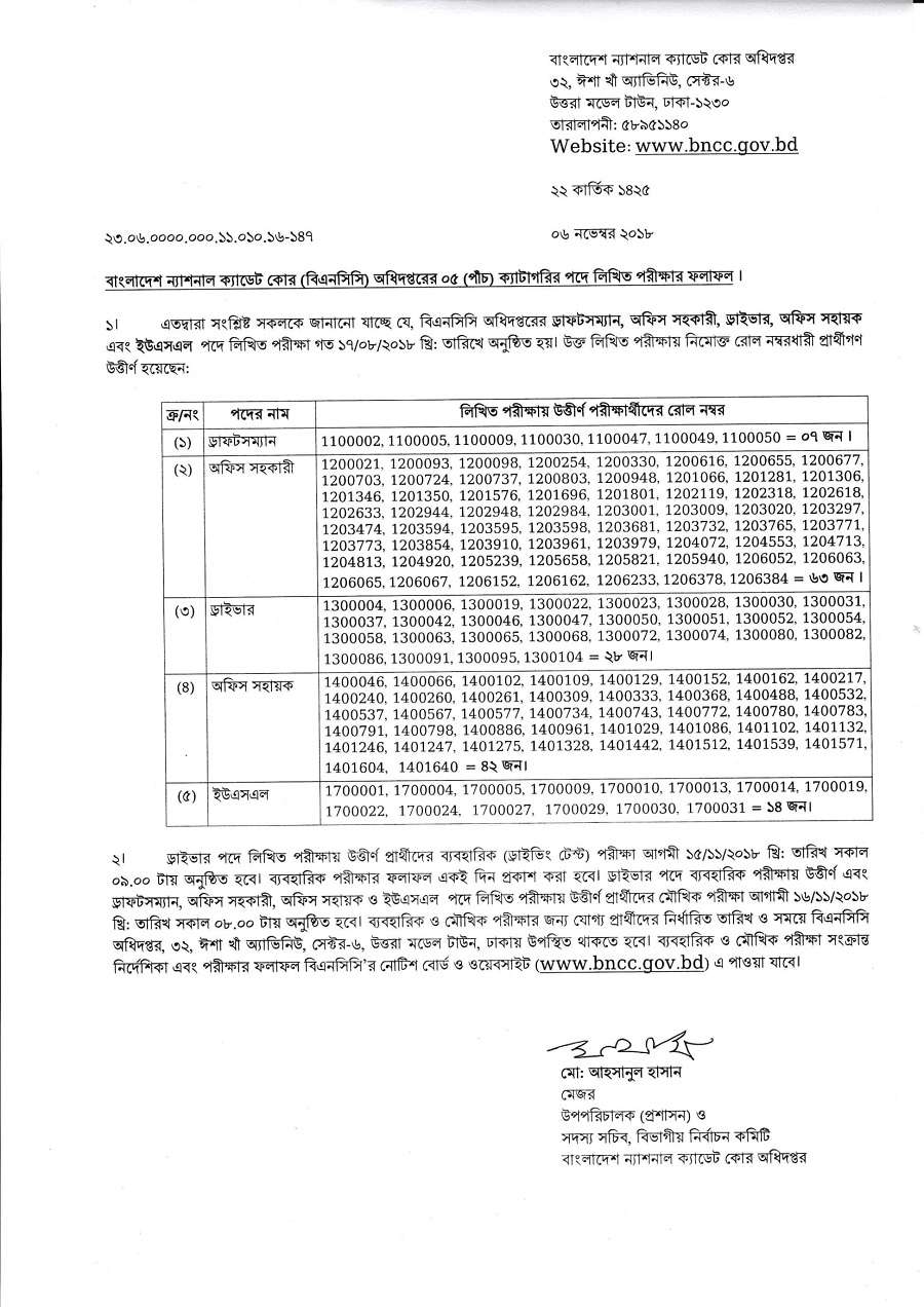 BNCC Teletalk Application Form & Admit Card Download