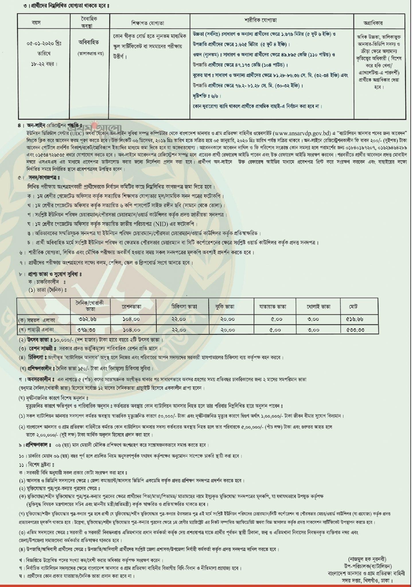 Bangladesh Ansar VDP Job Result