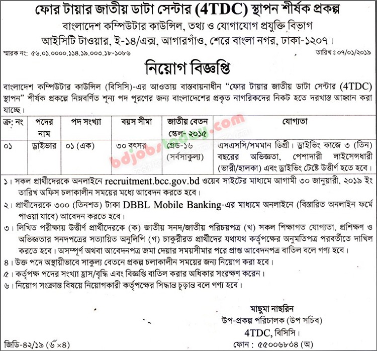 Bangladesh Computer Council Job Circular