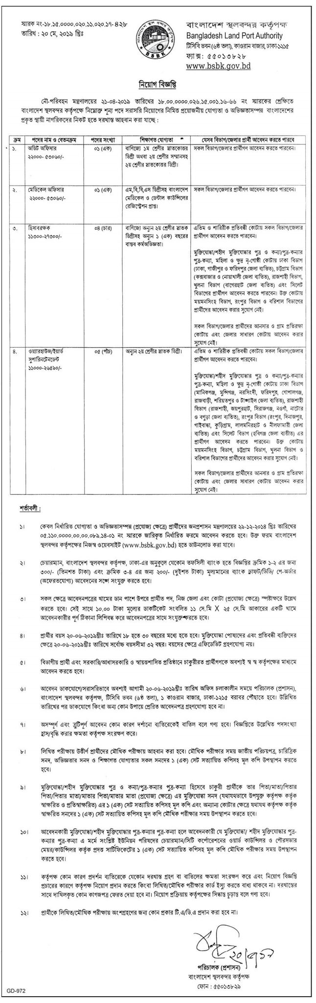 Bangladesh Land Port Authority Job Circular 2019
