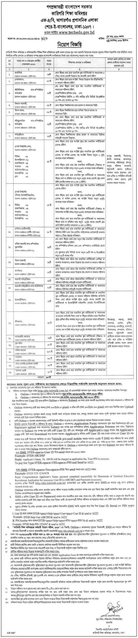 Bangladesh Technical Education Board (BTEB) Job Circular 2019