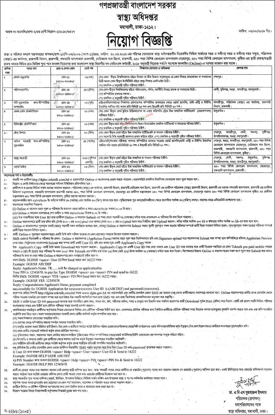 DGHSR Teletalk Application Form & Admit Card Download
