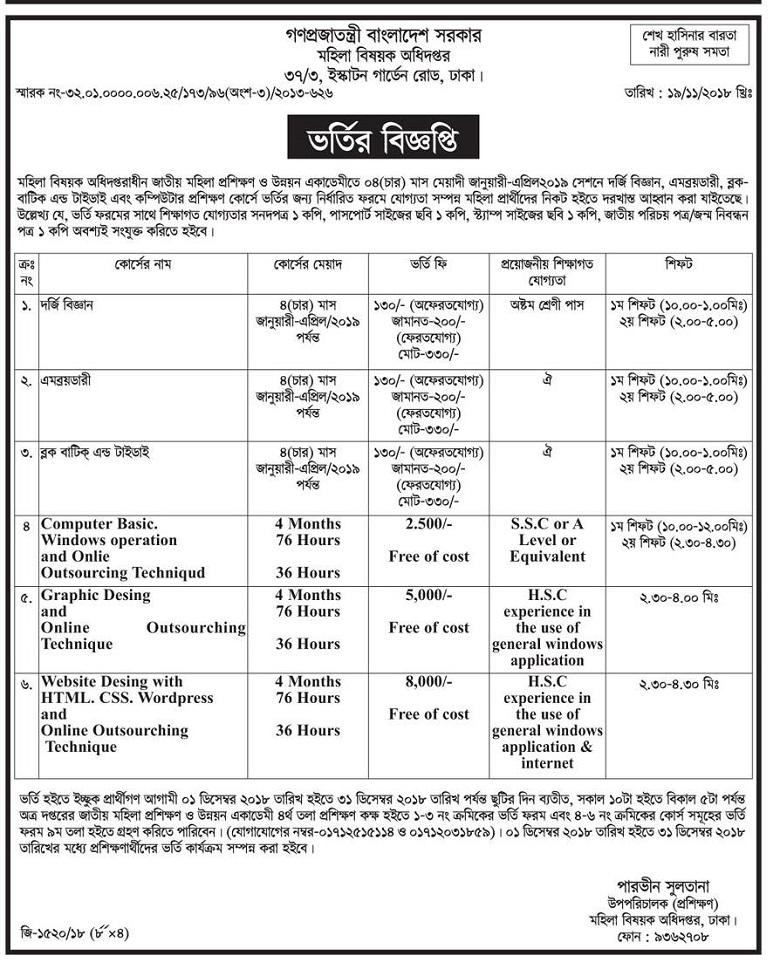 Department of Women Affairs Admission Notice 2018