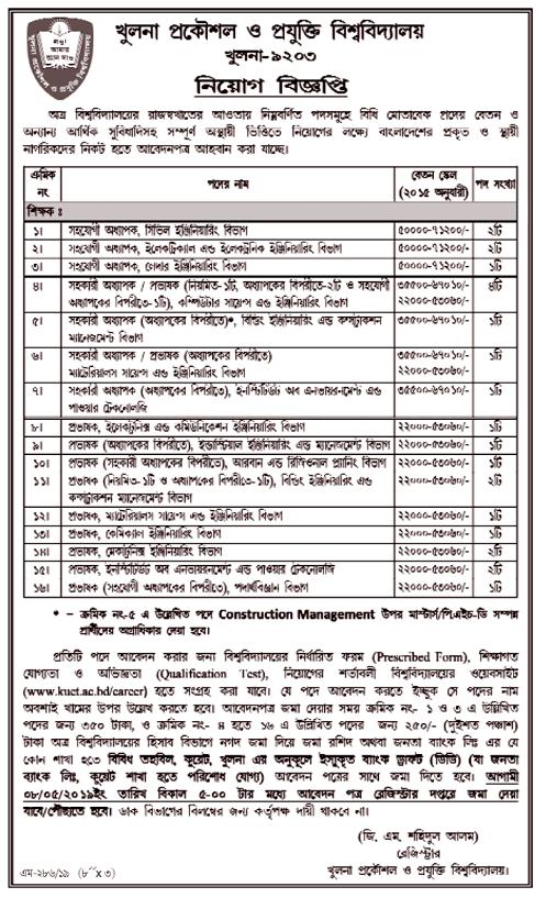 Khulna University of Engineering & Technology KUET Job Circular 2019