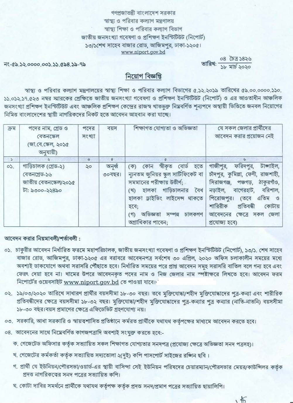 Medical Education and Family Welfare Division Job Circular 2020
